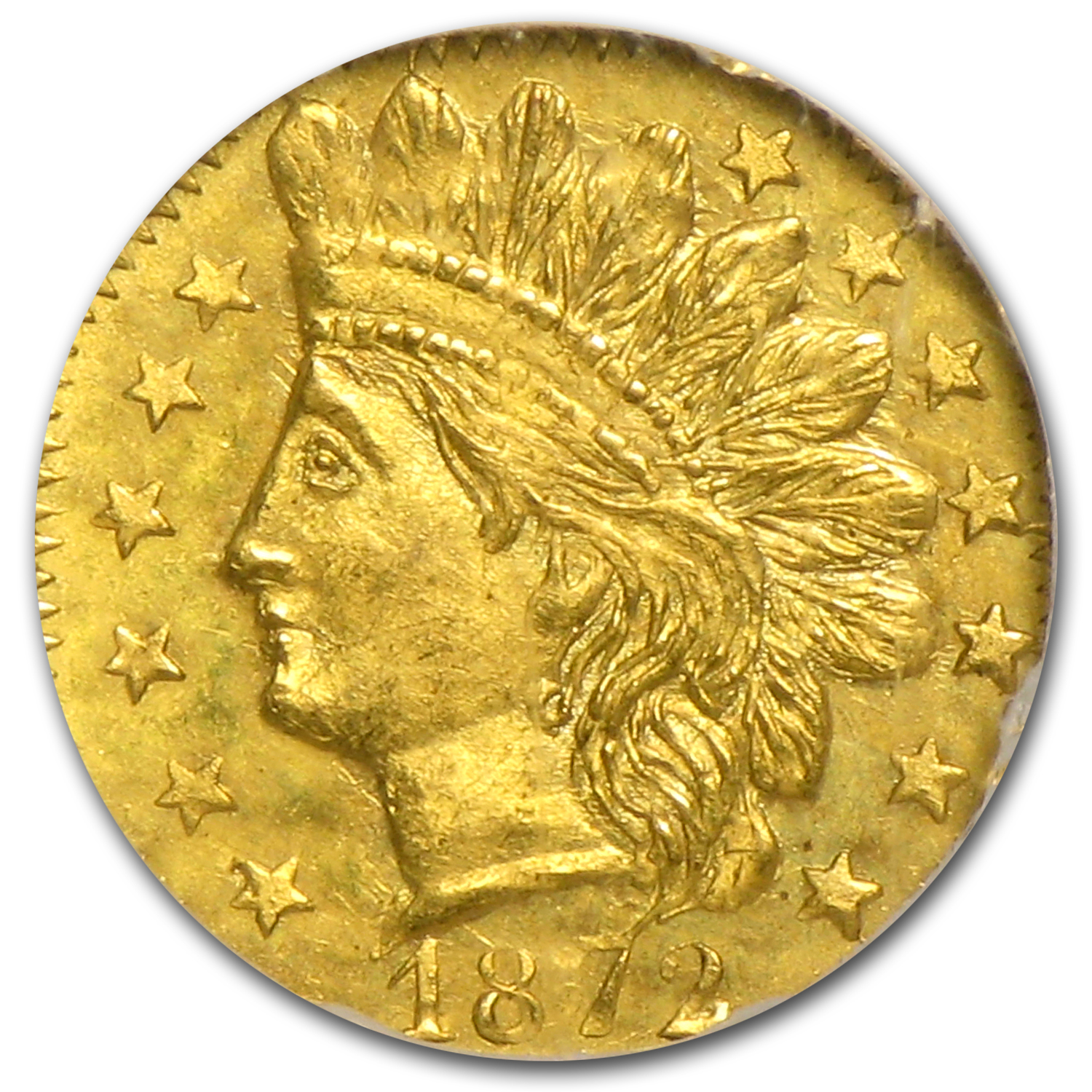 1872 BG-791 Indian Octagonal 25 cent Gold MS-65 NGC